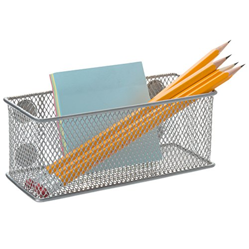 Magnetic Rectangular Metal Mesh Storage Bins, Office Organizer Basket, Silver (Cabinet File Metallic)