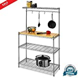 Kitchen Cart Workstation Chrome Steel & Wood Baker's Rack Kitchen Utility Organizer Open Shelving Storage Unit Removable Butcher's Cutting Board with Adjustable Shelves Food Prep & eBook by BADA shop