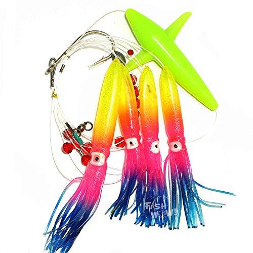 - Fish WOW! Daisy Chain Rainbow Squid Bird Teaser Rigged Fishing Lure Trolling - Rainbow