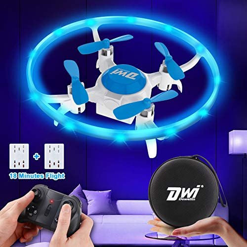 Dwi Dowellin 4.2 Inch Mini Drone for Kids with LED Lights Crash Proof One Key Take Off Landing Spin Flips RC Flying Toys…