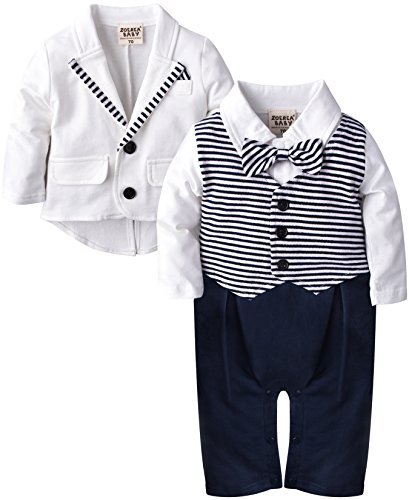 ZOEREA 2pcs Baby Boys Gentlemen Romper + Coat Wedding Suits Tuxedo Baptism (Label 95/Age 12-18 Months, White)