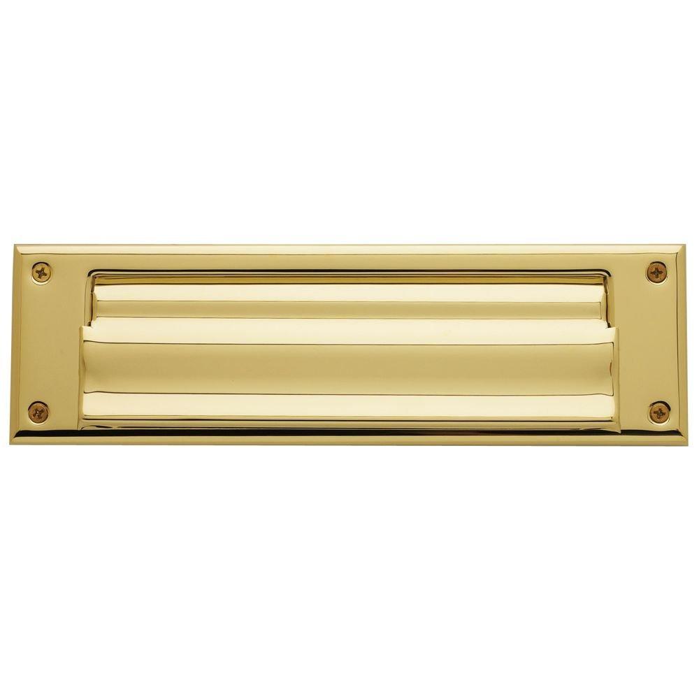 Baldwin 0017.003 Hinged Magazine Size Letter Box Plate, Lifetime Polished Brass