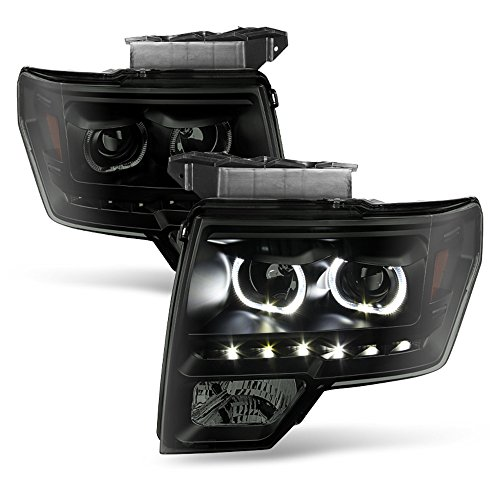 ACANII - For Black Smoke 2009-2014 Ford F150 SMD LED Halo Projector Headlights 09-14 Pair Set Driver + Passenger Side