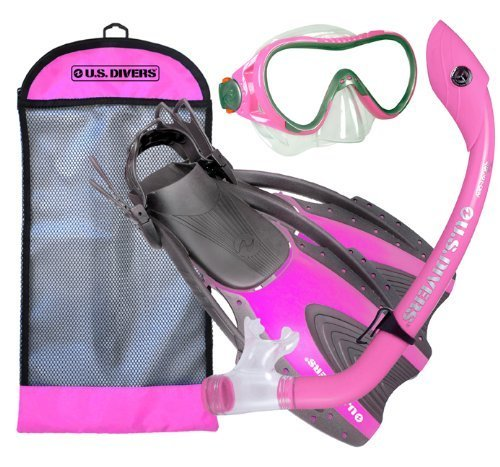 U.S. Divers Youth Coral Silicone Mask Island Dry Snorkel Mask with Hingeflex Jr. Fin and Travelite Bag Set (Hot Pink, Large) by U.S. Divers