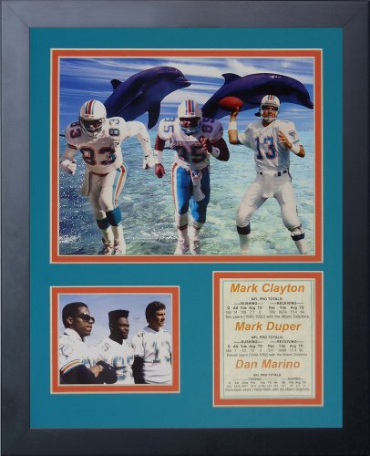 Legends Never Die Miami Dolphins 80's Big Three Framed Photo Collage, 11x14-Inch