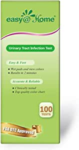 Easy@Home 100 Tests (25 Ct/4 Bottles) Urinary Tract Infection UTI Test Strips, Monitor Bladder Urinary Tract Issues Testing Urine- FSA Eligible, FDA Cleared for OTC USE, Urinalysis (UTI-100P)