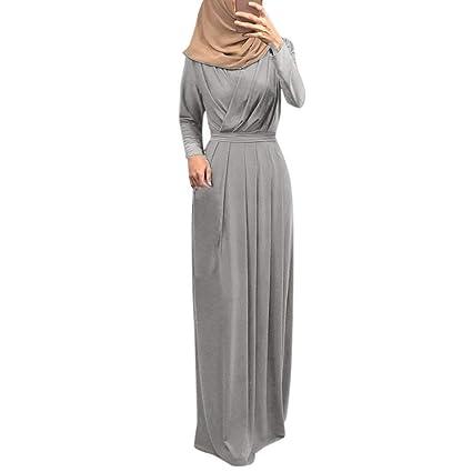 Elegantes Muslimisches Kaftan Abaya Islamische Damen Langarm Vintage Maxikleid