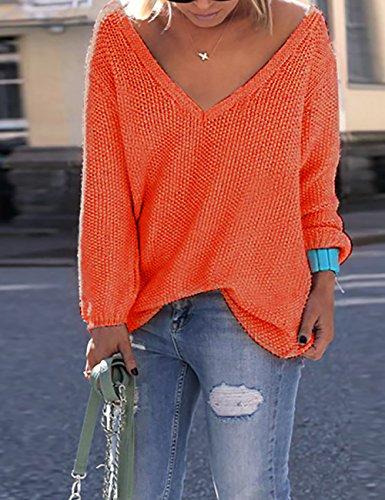 Ninimour Camiseta Fina de Punto de Corte Bajo Ropa de Playa para Mujer Naranja