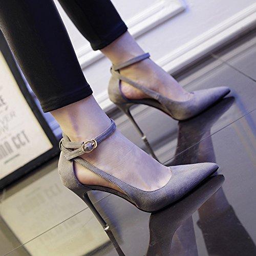 MUMA a gatti tacco 2018 moda spillo col con Colore tacco belle selvagge e scarpe del Scarpe il donna di estiva con Nuove tacco da scarpe punta 5 Grigio a UK5 con alto EU38 scarpe con Nero dimensioni rfarqn