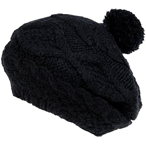 Nirvanna Designs CH701 Wide Cable Beret with Fleece and Pom, Black