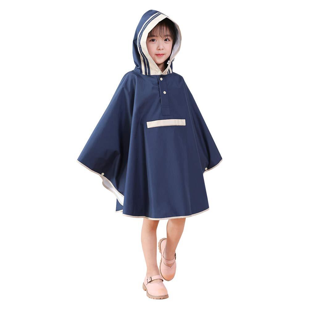 VVFamily Rain Poncho Jacket for Girls Batwing-Sleeve Coat Hooded School Backpack Raincoats Waterproof (Navy, S)