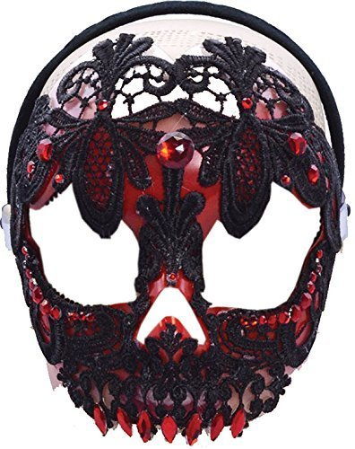 Red & Black Sugar Skull Mask On Headband - Pretty Sugar Skull Halloween Costume