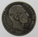 1885 PH Spanish Philippines 20 Centimos Silver Coin 20c Fine REV