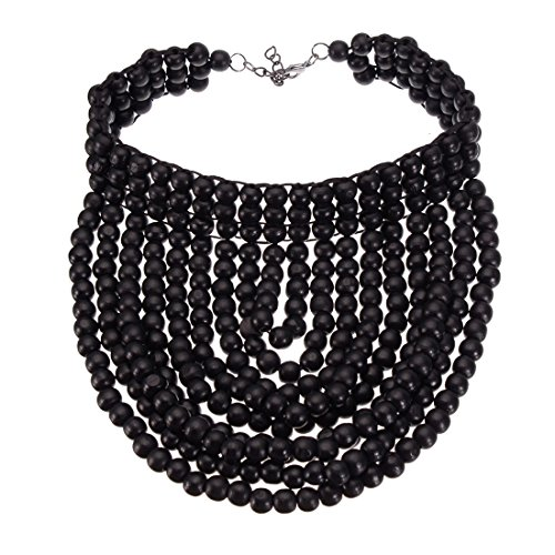 XBY-Jewel Fashion Statement Wooden Beads Chain Necklace Chunky Collar Novelty Jeweley for Women Costume (Black Bib)