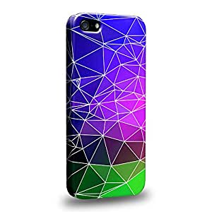 Case88 Premium Designs Art Geometric Mauve with Cobalt green Kaleidoscope Carcasa/Funda dura para el Apple iPhone 5 5s