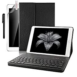 iPad Pro 9.7 Keyboard case,Boriyuan Smart Case Stand Folio Leather Cover with Detachable Wireless Bluetooth Keyboard and Screen Protector +Stylus for Apple iPad Pro 9.7 inch (Black)