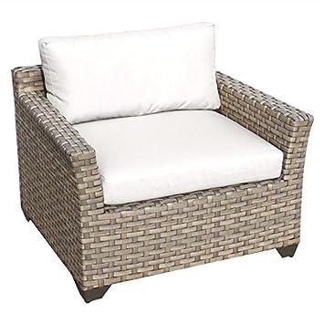 amazon com tkc monterey patio wicker club chair in white garden