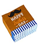 Cocktail Napkins - 150-Pack Luncheon Napkins, Disposable Paper Napkins Father's Day Party Supplies, 2-Ply, Mustache Design, Unfolded 13 x 13 Inches, Folded 6.5 x 6.5 Inches