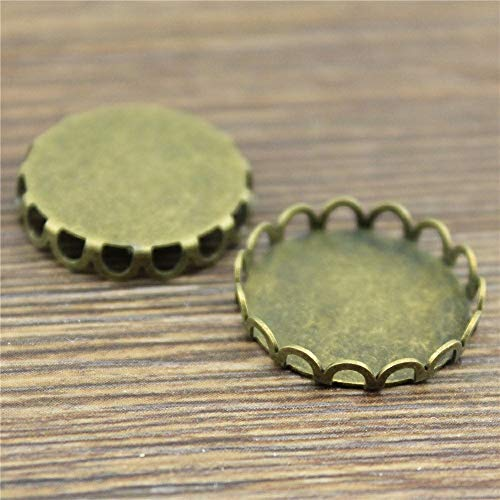 WYSIWYG 100 Pieces Cabochon Cameo Base Tray Bezel Blank Jewelry Making Supplies Lace Inner Size 10mm Round Necklace Pendant ()