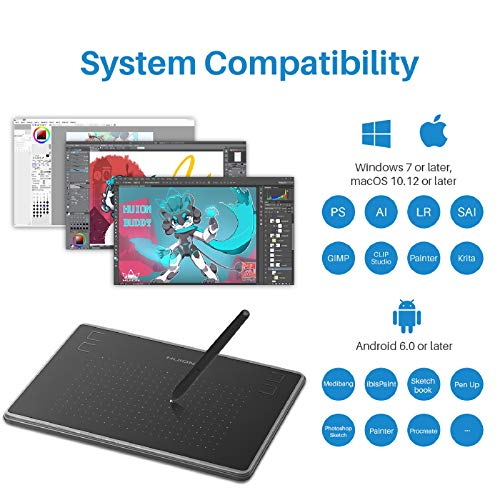 Huion Inspiroy H430P Android Supported Graphics Drawing Tablet Digital Pen Tablet with Battery-Free Stylus 4 Express Keys-Upgraded OTG Version