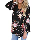 Women Blouse Casual,Teens Long Sleeve Linen Solid Tunics V Neck Shirts Pullover Top Sweatshirts T Shirts Blouses Black