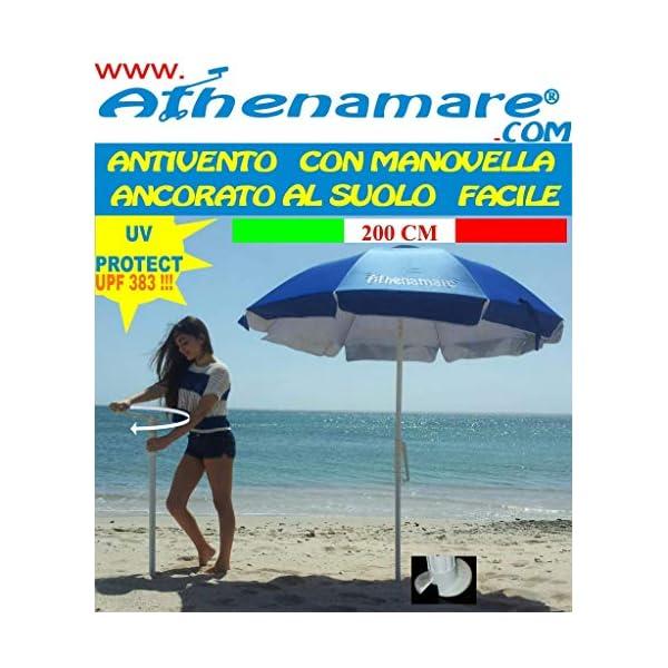 """Ombrellone da Spiaggia Antivento ,resistente al vento con il suo sistema """"Brevettato"""" di facile ancoraggio al suolo unico nel suo genere 7 spesavip"""