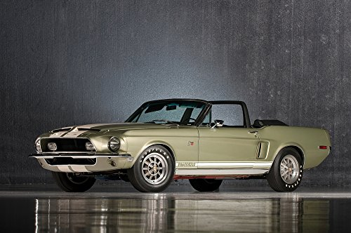Shelby Convertible - Shelby Mustang GT500 KR Convertible (1968) Car Print on 10 Mil Archival Satin Paper Green Front Side Static View 11