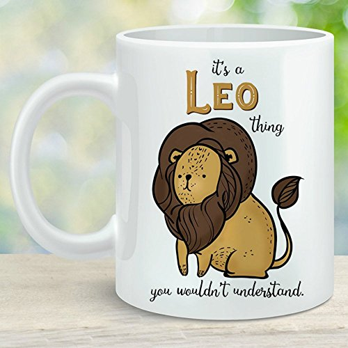 (Leo Zodiac Lion Sign Coffee Cup August September Birthday Gift Microwave Dishwasher Safe Ceramic)