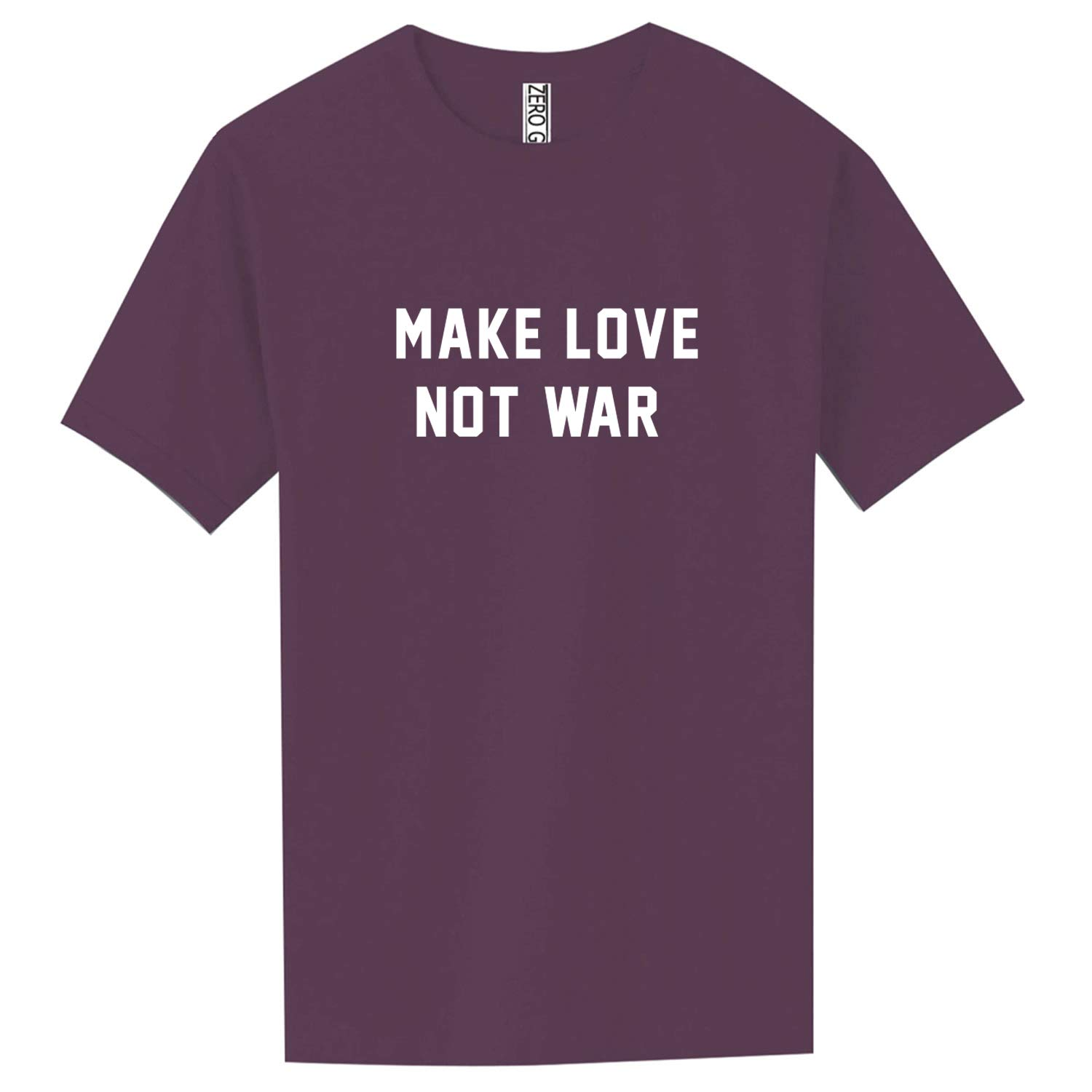 Make Love NOT WAR Adult Pigment Dye Short Sleeve in Eggplant - XX-Large