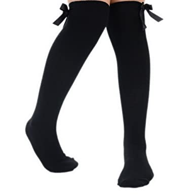 5a2fa2050d6 4 Pairs of Girls Knee High School Uniform Socks with Matching Silky Ribbon  Bows  Amazon.co.uk  Clothing