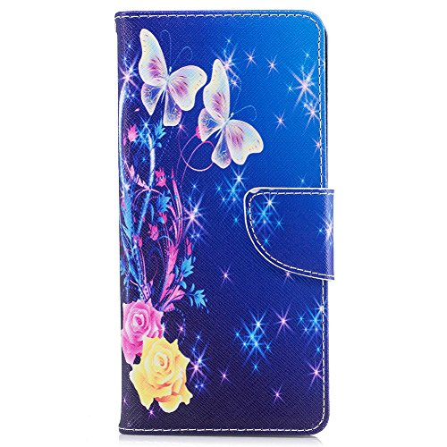 Galaxy Note 8 Case,Note 8 Case with Stylus Pen,Qbily Floral Butterfly Luxury Glitter Bling Leather Flip Kickstand Cover Wallet Case [Card Slots Holder/Magnet] Cute Girls Women Protective Case Blue by Qbily (Image #1)