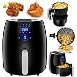 Cheap SUPER DEAL NEWEST 1500W Digital Air Fryer 3.7 Quart Large Capacity For Healthy Oil Free Cooking, w/ 8 Cooking Presets, Auto Shut off & Timer, Dishwasher Safe Parts, Recipes & CookBook