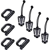 BCP Set of 4 Black Color Grimloc Locking D-Ring and TW MOLLE Web Dominators with Elastic String