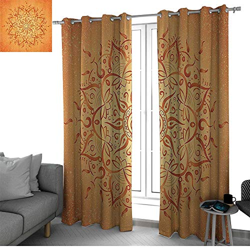 al Insulated Blackout Curtains African Tribal Ethnic Sun Pattern with Ombre Effect Primitive Figures Icons Culture Print Curtain Panels Orange W120 x L96 Inch ()