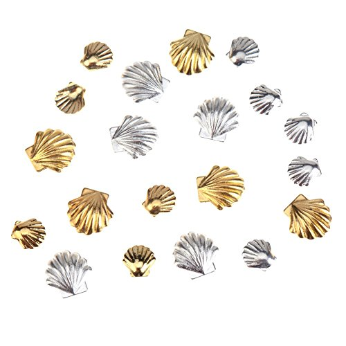 Fantastic Sparkly High Quality Professional Nail Art 3D Decorations / Accessories Set Kit With 20pcs Gold And Silver Colored 3mm And 5mm Sea Shells Forms / Designs Studs By VAGA -