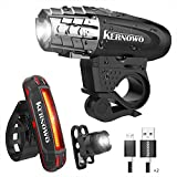 KERNOWO Bike Light, USB Rechargeable Bike Light Set- Premium Bicycle Front Light & LED Bicycle Tail Light Set – Waterproof Bicycle Light Accessories Set For Road & Mountain Cycling For Sale