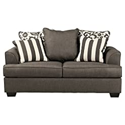 Farmhouse Living Room Furniture Signature Design by Ashley – Levon Classic Loveseat w/ 4 Accent Pillows, Charcoal Gray farmhouse sofas and couches