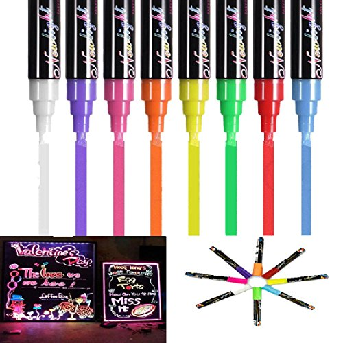Mchoice 8 Colours Liquid Chalk Pens Marker 6mm Reversible Neon whiteboeard Wipe Clean