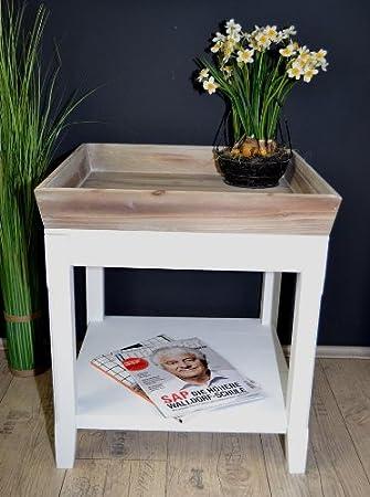 Beistelltisch Landhaus Tisch Mit Tablett Antik Weiß Holz 50 X 50 Cm