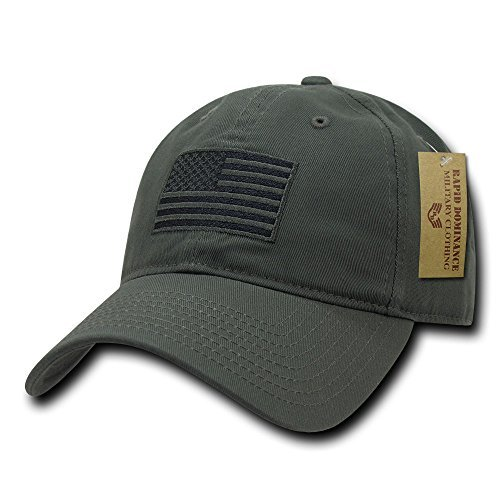 Chino Washed Cotton Cap - Rapid Dominance American Flag Embroidered Washed Cotton Baseball Cap - Olive