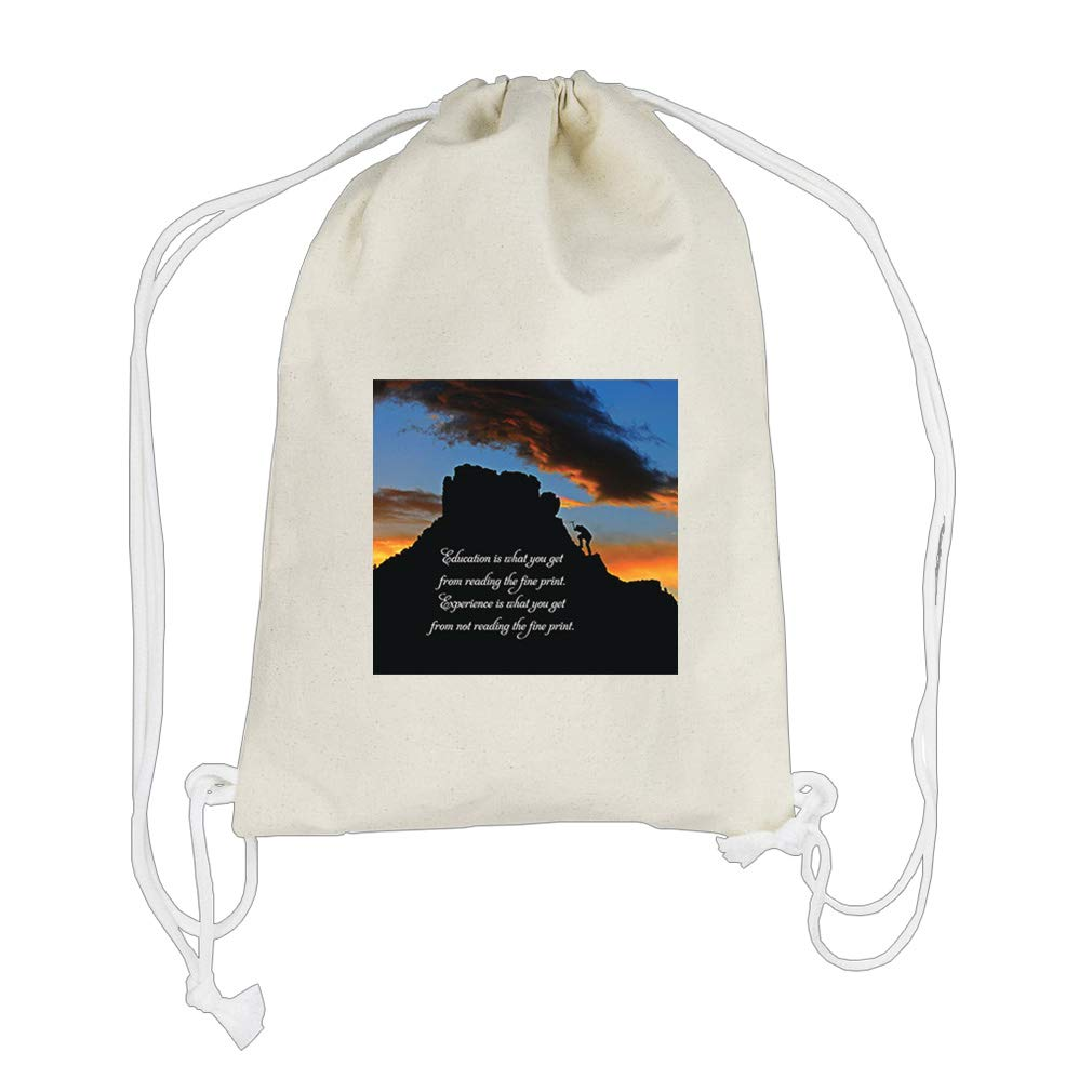 Is From Not Reading Fine Print. Cotton Canvas Backpack Drawstring Bag Sack
