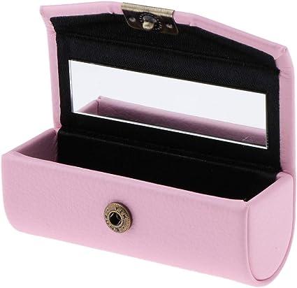 Caja de Pintalabios Recipientes de Lápiz Labial Envase de Joyería Organizador con Espejo - Rosado: Amazon.es: Belleza