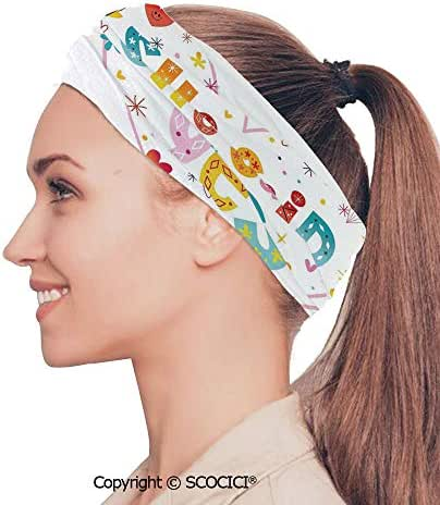 SCOCICI Stretch Soft and Comfortable W9.4xL18.9in Headscarf Headbands Koi Longfin Gurnard Fish Swimming Pale Complex Customized Sea Backdrop Image,Light Green Pink Perfect for Running, Working Out,