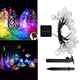 Solar String Lights Multi-color, 16 Feet Outdoor Waterproof 20 LED Leaves Fairy Lighting 2 Modes (Steady, Flash) Garden Lamp Decorations for Party, Fence, Christmas Tree, Wedding, Holiday by elecfan