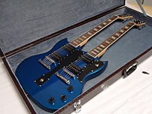 professional 6 12 string electric double neck guitar with hard case blue musical. Black Bedroom Furniture Sets. Home Design Ideas