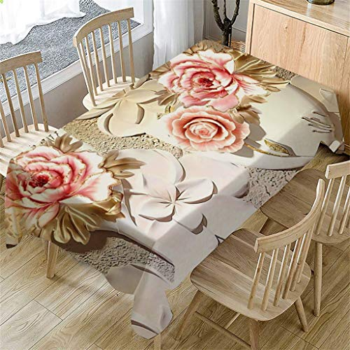 m·kvfa 3D Flower Table Cloth Rectangular Tea Table Cover Dining Home Kitchen Decor Garden Party Indoor Outdoor Tablecloth for Wedding Restaurant Party Coffee Shop Picnic (B) from *m·kvfa* Home Textiles