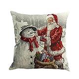 "Naladoo Christmas Santa Claus Printing Pillowcase Dyeing Sofa Bed Home Decor Flax Pillow Cover Cushion Cover Square 18""X18"" Home Life (01)"