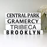New York Villages Books, Subway Sign Books, New York Decor, Central Park Books, Black Books, Quote Books, Housewarming Gift, New York Wedding