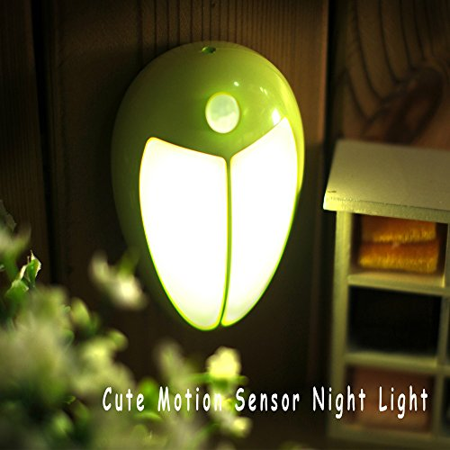 Motion Sensor LED Night Light Beetle Shape Battery Operated - Creative Beatles Anywhere Human Body Induction Lamp with 5 Bright Cool White LEDs for Bedroom Wall Closet Hallway Stair Children Room