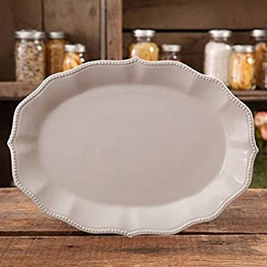 The Pioneer Woman Paige Linen Transparent Glaze Oval Platter, Off-white, 14